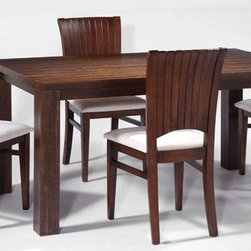 Modern Dining Room with Rectangular Solid Wood Table Set with Chairs - Modern dining room with rectangular solid wood table set with chairs. The back features appealing gloss finish. This dining side chair brings a touch of distinction and style with its contemporary clean look and grace. It is the perfect addition for the dining table.
