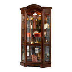 Jasper Cabinets - Arch Top Corner Curio Cabinet w Adjustable Gl - An arched top gives this traditional curio cabinet a dramatic profile that will be a striking addition to any home's decor. The piece is made of wood in dark cherry finish and is enhanced by adjustable glass shelves as well as a mirrored back and halogen touch lights that allow your treasures to be beautifully displayed. Screwed on wood backs. Mirrored back with glass sides. Doors  with locks fitted with wood strips. Halogen touch lights. Floor levelers. Adjustable plate grooved shelves. Hand rubbed stained finished curios. Weighted base stability for opening and closing doors. Made from solid wood and veneers. Assembly required. 26 in. W x 44 in. L x 82 in. H (198 lbs.)Jasper Cabinet's large selection of curios are made to meet our long standing tradition of excellence.