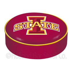 "Holland Bar Stool - Holland Bar Stool BSCIowaSt Iowa State Seat Cover - BSCIowaSt Iowa State Seat Cover belongs to College Collection by Holland Bar Stool This Iowa State bar stool cushion cover is hand-made in the USA by Covers by HBS; using the finest commercial grade vinyl and utilizing a step-by-step screen print process to give you the most detailed logo possible. This cover slips over your existing cushion, held in place by an elastic band. The vinyl cover will fit 14"" diameter x 4"" thick seats. This product is Officially Licensed. Make those old stools new again while supporting your team with the help of Covers by HBS! Seat Cover (1)"