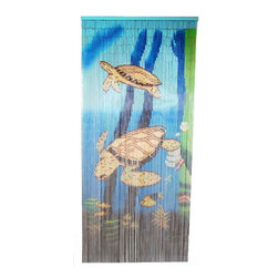 "Bamboo54 - Bamboo Double Turtle Scene - Bamboo54 double turtle scene is made from authentic bamboo and hand strung. One curtain contains 90 strands across and is the perfect door hanging accessory. Hand painted on both sides. Measures approximately 36"" x 80"""