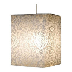 "Heritage Lace - Heritage Lace Brocade Lamp Shade, Pearl - Brocade pearl lamp shades create interesting play of light and shadow on adjacent walls. Open damask lace shade design lends extra interest, even more appeal and a really great look. Includes 15' round cord with thumb toggle. 60-watt maximum. Some assembly required. Instructions included. Not recommended for outdoor use. Made in the USA.Round shades available in 10"" x 14"" round and 10"" x 36"" roundSquare shade measures 10"" x 10"" x 14""Fine-gauge laceCare Instructions: Spot clean with a damp cloth"