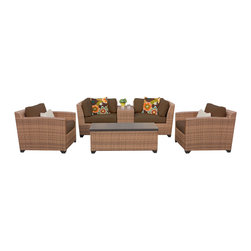 TKC - Tuscan 6 Piece Outdoor Wicker Patio Furniture Set 06d 2 for 1 Cover Set - Features: