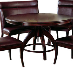 Hillsdale Furniture - Hillsdale Nottingham Pedestal 54x54 Round Dining Table - Urban and sophisticated, the tapered, clean lines of the Nottingham dining collection create an effect that is fresh, modern and timeless. Available in two heights, a traditional dining height and the newest trend, counter height, the Nottingham offers both a side chair or stool and curved benches (Banquettes), which fit effortlessly around the round table tops. Constructed of hardwoods and climate controlled wood composites, this collection is finished in a deep rich espresso with a versatile and easy to maintain brown faux leather seat cover and upholstered chair backs. Matching server also available.