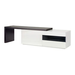 Arzano TV Unit Wengue - Whatever your space needs the Arzano TV  unit has a sliding wooden panel that can accommodate most televisions. Featuring a pull down door that hides a large storage area as well as two drawers and a glass-front shelf this compact piece can handle plenty of different media devices.