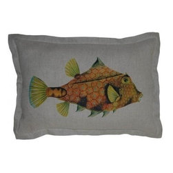"EuroLux Home - New 16"" X 24"" Pillow Right Facing Fish Blue - Product Details"