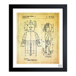 "The Oliver Gal Artist Co. - ''Lego Toy Figure 1979' 15""x18"" Framed Art - Exclusive blueprints inspired by real vintage patent drawings & illustrations. Handcrafted in the Oliver Gal Artist Co. Studios in Miami, Florida. Produced on matte proofing paper and hand framed by professional framers in a 1.2"" premium black wood frame. Perfect for any interior design project, gifts, office décor, or to add special value to one of your favorite collections."