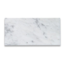 Stone Center Corp - Carrara White Marble Subway Tile 6x12 Polished - Premium Grade Carrara Marble Italian White Bianco Carrera Polished 6 x 12 Wall & Floor Tiles are perfect for any interior/exterior projects such as kitchen backsplash, bathroom flooring, shower surround, countertop, dining room, hall, lobby, corridor, balcony, terrace, spa, pool, etc. Our large selection of coordinating products is available and includes hexagon, herringbone, basketweave mosaics, 12x12, 18x18, 24x24 tiles, moldings, borders, and more.