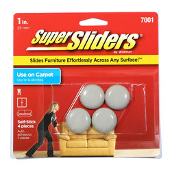 Waxman 1 inch Self Stick Super Sliders 4 Pack (4700195N) - 1 inch round sliders. Slides furniture effortlessly across any surface. Use on carpets Self stick sliders. Can be used on tables, chairs, patio furniture, coffee tables, foot stools, day beds, desks, bar stools, cabinets, entertainment centers, more!