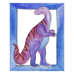 "Oh How Cute Kids by Serena Bowman - Dancing Dino, Ready To Hang Canvas Kid's Wall Decor, 16 X 20 - Whatever the real name is... (but I like to call it Cha -Cha -Cha).  Ok - I got tired of all those smarty little tykes correcting me with the ""proper"" scientific dino names - Seems that 4 years old don't understand artistic license. So I just was going to title it by it's proper name - cannot remember what it is ....  This is part of my ever expanding dinosaurs series."