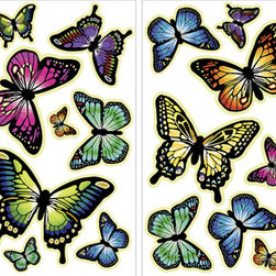 WallPops - Butterflies Glow in the Dark Wall Art Decal Kit - The Butterflies in this wall art kit are beautiful treasures for your walls. These wall stickers are stunning in the daytime so bright and colorful that you would never even guess their secret life as magical glow in the dark stickers when the lights go out. These stickers have amazing glow in the dark radiance and are repositionable and reusable.