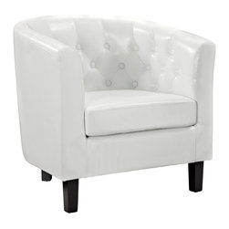 "LexMod - Cheer Armchair in White - Cheer Armchair in White - Infuse your space with happiness with the Cheer modern classic armchair. Fun concavity and sleek modern lines are peppered with classic inset buttons. Light up the room with a chair that reminds you to smile. Set Includes: One - Cheer Button Armchair Simple modern club chair, Rubberwood frame, Dense foam padding for comfort Overall Product Dimensions: 27.5""L x 30""W x 29""H Seat Height: 16.5""HBACKrest Height: 14""H Armrest Height: 10""H - Mid Century Modern Furniture."