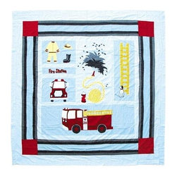 Patch Magic - Fire Truck Shower Curtain - 72 in. W x 72 in. L. 100% Cotton. Handmade. Machine washable. Line or flat dry only