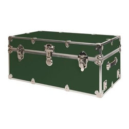 Rhino - Rhino Armor Storage Trunk in Forest Green (Su - Choose Size: Super JumboTwo nickel plated steel universal wheel adapter plates mounted on the side of the trunk. Laminated armor exterior. Strong hand-crafted construction using both old world trunkmaking skills and advanced aviation rivet technology. Steel and aluminum aircraft rivets used to ensure durability. Heavy duty proprietary nickel plated steel hardware. Steel lid hinges and steel lid stay for keeping the lid propped open. Tight fitting steel tongue and groove lid to base closure to keep out moisture, dirt, insects and odors. Stylish lockable nickel plated steel trunk lock. Loop for attaching a padlock. Genuine leather handles. American craftsmanship. Self-sticking adhesive on the back of the name plate. Upper or lower case lettering. Lettering is in black. The name plate can take 24 characters per line. The max number of lines is 2. Warranty: Lifetime warranty includes free non-cosmetic repairs for the life of the trunk. Made from smooth 0.38 in. premium grade baltic birch hardwood plywood. No paper or plastic lining anywhere avoiding peeling or tearing. Name plate made from plastic. No assembly required. Cube: 20 in. W x 18 in. D x 18 in. H (22 lbs.). Small: 30 in. W x 16 in. D x 12.5 in. H (24 lbs.). Medium: 30 in. W x 16 in. D x 16 in. H (26 lbs.). Large: 32 in. W x 18 in. D x 14 in. H (27 lbs.). Extra Large: 34 in. W x 20 in. D x 15 in. H (32 lbs.). Extra Extra Large: 36 in. W x 18 in. D x 18 in. H (36 lbs.). Jumbo: 40 in. W x 22 in. D x 20 in. H (52 lbs.). Super Jumbo: 44 in. W x 24 in. D x 22 in. H (69 lbs.). Name Plate: 3 in. L x 1 in. H (0.5 lbs.)The hand-crafted American Made Rhino Armor Cube is constructed from the highest quality components. Rhino Armor is an exterior 1000d Cordura Nylon textured sheathing that's highly resistant to water penetration, denting and scratching. The Rhino Armor Cube is conveniently sized and ruggedly built. In fact, its strong enough to stand on ! The Rhino Ar