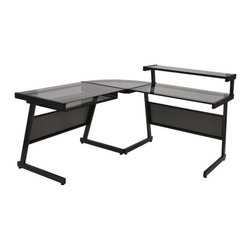 Eurostyle - Eurostyle Landon L-Shaped Desk in Graphite Black & Smoked Glass Top - L-Shaped Desk in Graphite Black & Smoked Glass Top belongs to Landon Collection by Eurostyle This L-Shaped Desk in Graphite Black by Eur��_��_ Style will add a touch of style and function to your home/office. A durable heavy powder epoxy coated steel frame supports elegant working surface constructed of tempered glass. The desk is also available in aluminum finish. Optional keyboard and hanging file tray. Desk Frame (1), Desk Top (1)