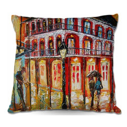 DiaNoche Designs - Pillow Woven Poplin from DiaNoche Designs - New orleans French Quarter - Toss this decorative pillow on any bed, sofa or chair, and add personality to your chic and stylish decor. Lay your head against your new art and relax! Made of woven Poly-Poplin.  Includes a cushy supportive pillow insert, zipped inside. Dye Sublimation printing adheres the ink to the material for long life and durability. Double Sided Print, Machine Washable, Product may vary slightly from image.