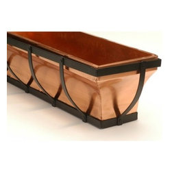H. Potter Rectangle Copper/Wrought Iron Berkshire Window Box with Thick Accent - The H. Potter Rectangle Copper/Wrought Iron Berkshire Window Box with Thick Accent offers a new twist on the classic window box. The 100% copper liner and thick rust-resistant powder-coated wrought iron accents make this a window box your neighbors will envy! Mounting brackets are included which allow you to mount under windows or on wooden decks. Brackets also make removal easy for planting and care. Copper will patina to a soft green as it is exposed to the elements. SIZE DIMENSIONS: 30 in. Box 30L x 7.75W x 7.75H inches Weight: 18 lbs. 36 in. Box 36L x 7.75W x 7.75H inches Weight: 20 lbs. 48 in. Box 48L x 8W x 7.75H inches Weight: 30 lbs. About H. Potter ProductsOver the past nine years H. Potter has continually enhanced all aspects of their business to fill the desires of their growing list of satisfied customers. With the entrance of 2006 they were able to offer over 100 impressive designs. Not only are they always striving to bring you products that are new bold and unique but they also work hard to increase the overall quality of the items. They do this by incorporating heavier materials stainless steel hardware and dramatically expanding their copper container business. H. Potter artisans design many 100% hand-made pieces to fit effortlessly into your home or garden setting.