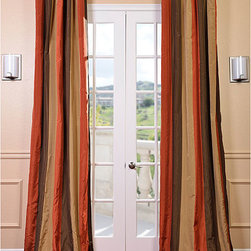 EFF - Signature Stripe Burma Faux Silk Taffeta Curtain Panel - With these stylish faux silk curtain panels,you can add more appeal to your room. The panels feature high-quality cotton lining and flannel interlining. The curtain has a fine weave and looks like silk. Measures 50' wide and comes in different lengths.