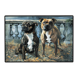130-Staffordshire Bull Doormat - 100% Polyester face, permanently dye printed & fade resistant, nonskid rubber backing, durable polypropylene web trim on the porch or near your back entrance to the house with indoor and outdoor compatible rugs that stand up to heavy use and weather effects