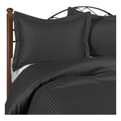 SCALA - 1000Tc Stripe King Size Elephant Grey Color Sheet Set - We offer supreme quality Egyptian Cotton bed linens with exclusive Italian Finishing. These soft, smooth and silky high quality and durable bed linens come to you at a very low price as these come directly from the manufacturer. We offer Italian finish on Egyptian cotton, which makes this product truly exclusive, and owner's pride. It's an experience and without it you are truly missing the luxury and comfort!!