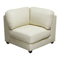 Diamond Sofa - Diamond Sofa Zen Leather Tufted Square Corner Chair in Eggshell - The Zen collection by diamond sofa has a chic urban loft contemporary feel with all the flexibility of modular living. no matter the size and shape of the room, the Zen collection offers a refined and impressive solution to your special needs while bringing a distinguished look of elegance to your living space. Comfort, style, flexibility. . . The Zen collection has it all. the all leather white square corner chair features a kiln-dried hardwood frame that is glued and reinforced, offers strength, while the zig zag spring suspension base gives you a supple seating that will hold up for years. the elastic webbing back suspension offers additional stability while allowing for the leather to breathe and maintain its shape. tufted seat cushions are comprised of a high density foam cushion wrapped in polyester fibers to ensure a comfortable, relaxing and lasting seat. seat cushions and back pillows are attached to the frame to eliminate shifts or gaps. The slightly tapered arm, espresso wood legs promote an aura of refined elegance. top grain leather lines the interior of the piece, while sides and back are completely finished in split leather to ensure lasting flexibility, as well as, resistance to stretching or tearing. Zen square corner chair measures 36 inches wide by 37 inches deep by 33 inches high. this modular collection also includes lf/Rf chaise, lf/Rf sofa, armless loveseat, armless chair and square cocktail ottoman.