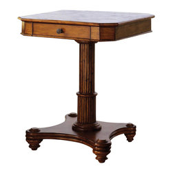 Tommy Bahama Home - Cinnamon Cove Lamp Table - Crushed bamboo top. One drawer. Rattan base. Warranty: One year limited. Drawer construction: English dovetails, wood runner and guides, drawer stops. Made from maple veneers and select hardwood solids. Lightly distressed warm umber finish. Minimal assembly required. 24 in. W x 24 in. D x 29 in. H (52 lbs.). Special Care Instruction from Lexington FurnitureIsland Estate lends inspiration to tropical design through a rich blending of natural materials, textures and exciting new finish colors. Designs for the whole home encompass an eclectic mix of British Plantation and refined Caribbean styling, with a playful dose of exotic island fun. Wherever the locale, Island Estate embodies a lifestyles that is elegant and refined, yet casual and cool.