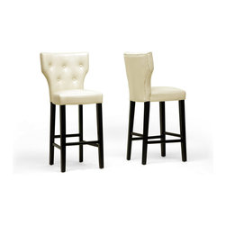 """Wholesale Interiors - Billings Beige Modern Bar Stools, Set of 2 - Classic button tufting and sleek beige faux leather look lovely next to your bar, pub table, or kitchen counter. Our Billings Designer Bar Stool is made in China with a black lacquered wooden frame with non-marking feet and comfortable foam cushioning. The stool's great looks are simple to maintain: just wipe clean with a damp cloth. The Billings Modern Bar Stool requires assembly and is also available in dark brown (sold separately).Dimension: 20""""W x 21.5""""D x 44.25""""H, seat dimension: 17.75""""W x 16""""D x 30""""H."""
