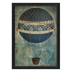 "The Artwork Factory - ""Hot Air Balloon 4"" Print - This buoyant blue balloon is sure to lift your spirits with its decorative beauty and vintage charm. The antique-style print looks authentically aged and comes framed and ready to hang."
