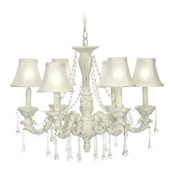 Sterling Industries - Sterling Industries 92-750 6 Light 1 Tier Crystal Chandelier with White Fabric S - Features: