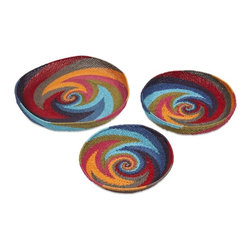 iMax - Khari Oversized Trays, Set of 3 - The shallow Khari bowl shaped trays are expertly woven from paper rope with boldly colored graphic swirl patterns.