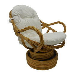 Vintage Bamboo Rattan Swivel Rocking Chair - Dimensions 29.0ʺW × 35.5ʺD × 35.5ʺH