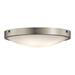 Kichler Lighting - Kichler Lighting Lytham Transitional Flush Mount Ceiling Light X-IN67224 - This versatile 4 light flush mounted ceiling fixture features a clean, Brushed Nickel finish and Stain Etched White Glass that will effortlessly highlight any space in your home.
