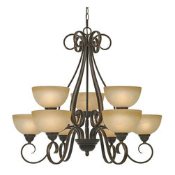 Golden Lighting - PC 9 Tuscan Nine Light ChandelierRiverton Collection - Golden Lighting specializes in the design and manufacture of high quality residential lighting products and accessories.