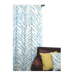 EZ Living Home Zebra Window Panel 84L Turquoise on Cream