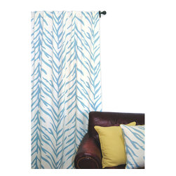 ez living home - Zebra Window Panel, Turquoise on Cream - Take a walk on the wild side with this safari-inspired zebra pattern. This traditional print gets a makeover with a surprise turquoise and cream color scheme. This fun twist on windows works anywhere, from the kids' room to the sun room. Let your imagination run wild!