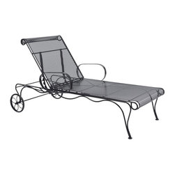 Woodard - Woodard Tucson Adjustable Chaise Lounge - 1G0070 - Shop for Chaise Lounges from Hayneedle.com! Maybe it's the timeless style of the Woodard Tucson Adjustable Chaise Lounge but this chaise is sure to make you lose all track of time yourself. Sturdily built to last it combines classic aesthetics with upscale appeal making it the perfect addition to your patio or porch. The backrest is adjustable so you'll always find the perfect position and large rear wheels will make it easy to move this chaise from one spot to another. Constructed of fully-welded wrought iron it features a tightly-woven micro mesh seat and back that will envelop you in luxurious comfort without the need for cushions. Now that's something the standard mesh patio furniture pieces can never hope to equal! And since wrought iron furniture is heavier than aluminum it stays put even in the face of strong winds and makes a great choice for windier locations. Available in a choice of attractive powder-coated finishes this chair will not rust peel or blister even after years of use.Important NoticeThis item is custom-made to order which means production begins immediately upon receipt of each order. Because of this cancellations must be made via telephone to 1-800-351-5699 within 24 hours of order placement. Emails are not currently acceptable forms of cancellation. Thank you for your consideration in this matter.Woodard: Hand-crafted to Withstand the Test of TimeFor over 140 years Woodard craftsmen have designed and manufactured products loyal to the timeless art of quality furniture construction. Using the age-old art of hand-forming and the latest in high-tech manufacturing Woodard remains committed to creating products that will provide years of enjoyment.Superior Materials for Lasting DurabilityEach piece in the Classics Collection is hand-formed using solid wrought iron stock: the heaviest available. The technique used to create Woodard wrought iron furniture has been handed down from genera