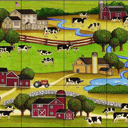 The Tile Mural Store (USA) - Tile Mural - Farm Scene 1  - Kitchen Backsplash Ideas - This beautiful artwork by Dan Morris has been digitally reproduced for tiles and depicts a farm scene.  This tile mural with images of farm animals on tiles would be perfect as a part of your kitchen backsplash tile project. Farm animal tiles with pigs on tiles and images of cows on tile make an impressive kitchen backsplash idea. Rooster tile murals and pictures of roosters on tiles is timeless and will never go out of style.