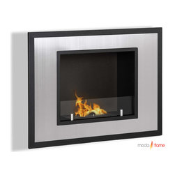 Moda Flame - Moda Flame Rio Wall Mounted Ethanol Fireplace - Rio's minimalist modern design will create a vibrant atmosphere wherever it is mounted. Its square picturesque frame has a powder coated outer layer with a beautiful steel inner frame and a small tempered glass wall to act as a barrier from the flame.