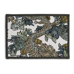 Aqua Chinoiserie Dragon Tailored Placemat Set - Class up your table's act with a set of Tailored Placemats finished with a contemporary contrast border. So pretty you'll want to leave them out well beyond dinner time! We love it in this modern chinoiserie dragon in red, teal, gray & gold. so chic it will steal the show in any room.