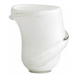 White and Glass Donatello Art Glass Vase - *Donatella Vase