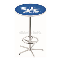 "Holland Bar Stool - Holland Bar Stool L216 - 42 Inch Chrome Kentucky Inchuk Inch Pub Table - L216 - 42 Inch Chrome Kentucky  Inchuk Inch Pub Table  belongs to College Collection by Holland Bar Stool Made for the ultimate sports fan, impress your buddies with this knockout from Holland Bar Stool. This L216 Kentucky ""UK"" table with retro inspried base provides a quality piece to for your Man Cave. You can't find a higher quality logo table on the market. The plating grade steel used to build the frame ensures it will withstand the abuse of the rowdiest of friends for years to come. The structure is triple chrome plated to ensure a rich, sleek, long lasting finish. If you're finishing your bar or game room, do it right with a table from Holland Bar Stool.  Pub Table (1)"