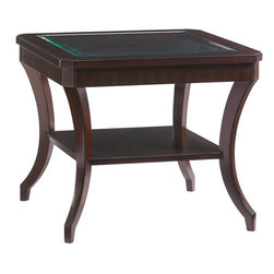 Lexington - Lexington Kensington Place Hillcrest Lamp Table - The wood framed top with faceted corners features a beveled glass insert, elegant saber legs and a shelf with black ebony inlay.