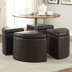 Coaster - Dark Brown Coffee Table Set with Ottoman - Add this coffee table with four ottomans to your living space. The design will not only impress your guest the ottoman conveniently tuck under the table to save space.