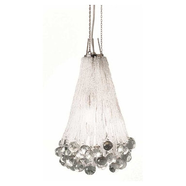 CR42 Chandelier by Lightology Collection - CR42 3 light chandelier features a nickel or lead finish. Nickel finish features clear crystals. Lead finish features black methacrylate and clear crystals.