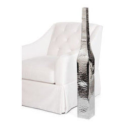 "Z Gallerie - Mala Vase - 41.75""H - Our stylish Mala Vase adds a healthy dose of sparkling silver to your chic decor. Available exclusively at Z Gallerie, this sleek and slender floor vase is crafted of handsome hammered stainless steel, polished to a high shine. The simple, uncomplicated squared shape and classic good looks makes it an easy addition to any room. Suggested for use with decorative flowers or foliage only."