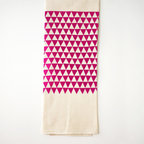 """Flour Sack Tea Towel in Fuchsia - Sometimes it's the addition of pattern and print that up the """"wow factor"""" of a modern kitchen. There's no need to break the bank when picking out your statement piece. Case in point: this organic cotton flour sack tea towel. Its huge size and fuchsia-hued triangle pattern catches the eye and gives the kitchen an eco-friendly punch."""