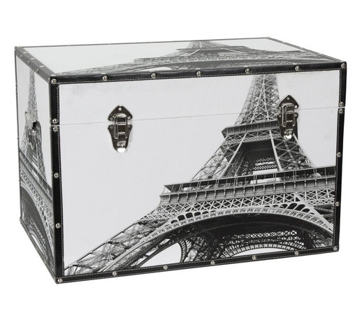 Oriental Furniture - Eiffel Tower Trunk - Je l'adore! This fetching chest features an eye-popping photograph of the Eiffel Tower as seen from below. Handsomely printed on natural, art-quality canvas, this impressive view of the world wonder is bound to be an attractive addition to your home or business. The stately black and white print is reinforced by matching faux leather edges, and goes perfectly with the silver-toned clasps, rivets, hinges, and handles. Lightweight and portable, this trunk is easy to move when redecorating, and the spacious, fabric-lined interior is perfect for storage. Featuring an internal arm that holds the lid when you want it open and elegant closures to keep it shut when you don't, this trunk is a perfect blend of beauty and functionality that will bring a touch of French sophistication wherever it goes.