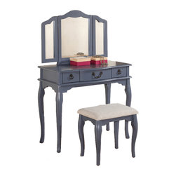 Adarn Inc. - Enchanting Mark up Table Vanity Set Tri-Folding Mirror Bench Three Drawers, Blue - An enchanting style of dainty decor, This vanity set collection features a mirror with attached moveable extensions and a muti-drawer table for storage and accessory display. This comes in white, blue-grey, black and dark cherry with a bench seat upholstered in a paisley or solid color cushion.