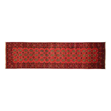 Manhattan Rugs - Red Tribal Hand Knotted Oriental Runner 2' X 10' Handmade Wool Bokhara Rug P761 - Baluch