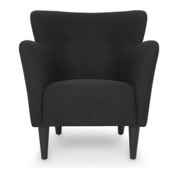 Bryght - Dark Gray Mid-Century Modern Armchair   Happy Mid-Century Modern Furniture - Taking inspiration from the 1950's, the Happy collection boasts a retro mid century modern appeal. Tailored to perfection in a chic charcoal Gray fabric with flared, upward sloping arms and a button tufted back, the Happy love seat is all set to make a bold fashion statement.