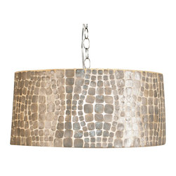 Kathy Kuo Home - Cobblestone Coastal Beach Capiz Shell Round Pendant - Opulent, opalescent capiz shells add some Coastal Beach beauty to this brilliant, round pendant. White, silver and ivory hues create a clean palette on the dramatic drum shade. The polished chrome adjustable chain assures the optimal height for this shimmering chandelier.